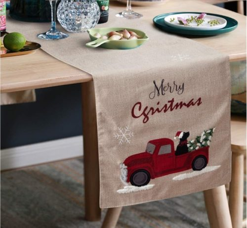 9.S-DEAL Christmas Table Runner Linen Burlap with Embroidery for Dinner Party Decor Family Dinners Gatherings Holiday 14x72 Inches
