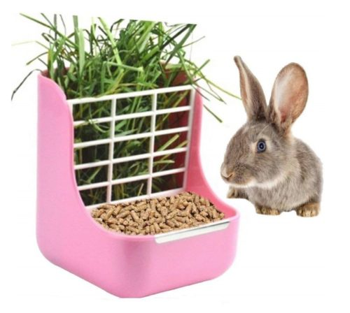 9.STKYGOOD Rabbit Feeder Bunny Guinea Pig Hay Feeder,Hay Guinea Pig Hay Feeder,Chinchilla Plastic Food Bowl (Pink)