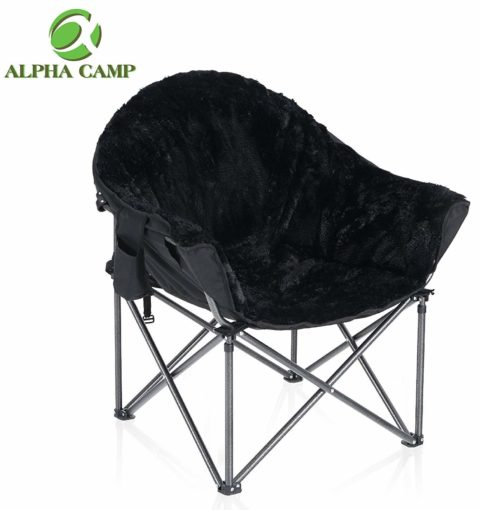ALPHA CAMP Deluxe Plush Dorm Chair Oversized Moon Saucer Chair Supports 350 LBS Portable