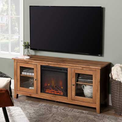 7. WE Furniture Wood Fireplace TV Stand