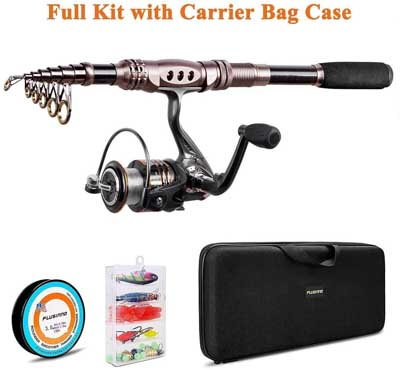 6. Carbon Fiber Telescopic Fishing Rod with Reel Combo by Plusinno