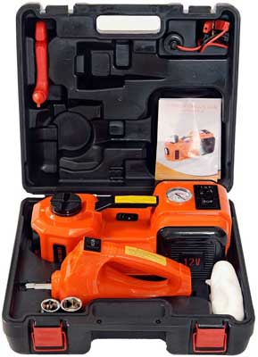4. Electric Hydraulic Floor Jack and Tire Inflator Pump by MarchInn