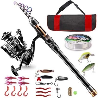 1. Carbon Fiber Telescopic Fishing Rod Kit with Spinning Reel by BlueFire