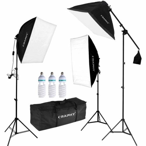 CRAPHY Professional Photo Studio Soft Box Lights Continuous Lighting Kit