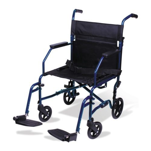 Carex Transport Wheelchair - 19 inch Seat - Folding Transport Chair with Foot Rests