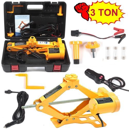 Electric Car Floor Jack 3 Ton All-in-one Automatic 12V Scissor Lift Jack Set