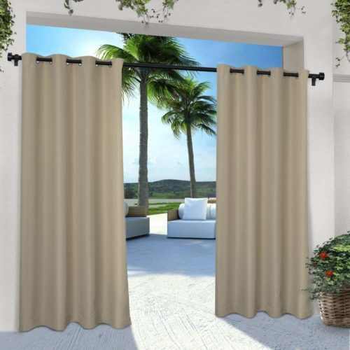 Exclusive Home Curtains Indoor/Outdoor Solid Cabana Grommet Top Curtain Panel Pair, 54x96