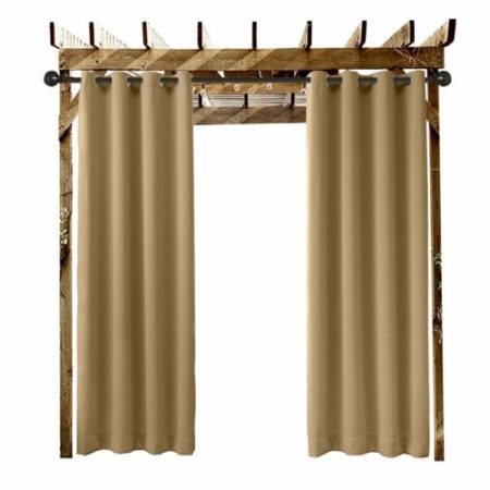"Extra Wide Outdoor Waterproof Curtain Wheat 120"" W x 96"" L Grommet Eyelet"