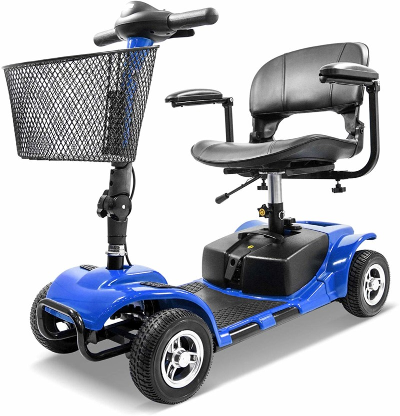 Furgle 4 Wheels Electric Scooter for Adults Power Mobility Scooter Heavy Duty Seniors Travel Scooter (Blue Color)