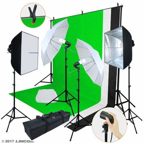 Linco Lincostore Photo Video Studio Light Kit AM169 - Including 3 Color Backdrops
