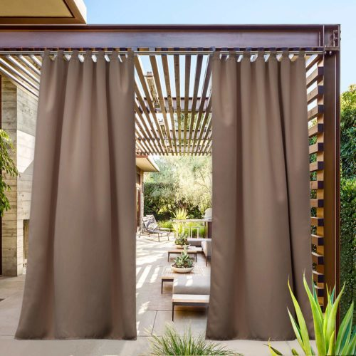 NICETOWN Outdoor Curtain Tab Top Extra Long Drapery for Pool