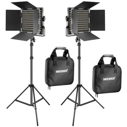 Neewer 2 Pieces Bi-color 660 LED Video Light and Stand Kit Includes