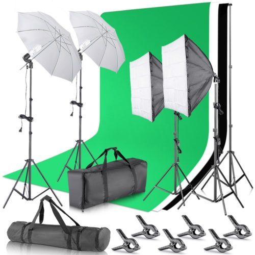 Neewer 2.6M x 3M/8.5ft x 10ft Background Support System and 800W 5500K Umbrellas