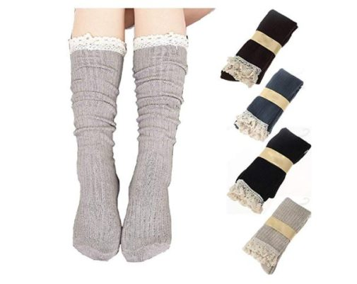 11.RRiody 4 Pairs Women Crochet Lace Trim Cotton Knit Footed Leg Boot Knee High Stocking