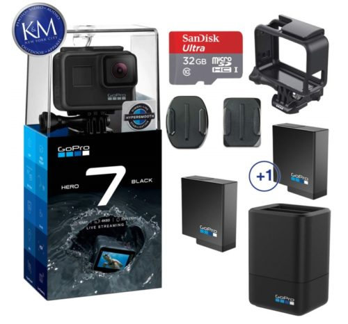 2.GoPro Hero 7 (Black) Action Camera w Dual Battery Charger and Extra Battery Bundle