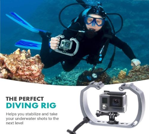 2.Movo GB-U70 Underwater Diving Rig for GoPro Hero with Cold Shoe Mounts, Wrist Strap - Works with HERO3, HERO4, HERO5, HERO6,