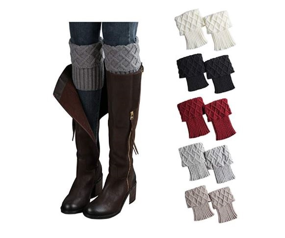 3.Bestjybt Womens Short Boots Socks Crochet Knitted Boot Cuffs Leg Warmers Socks