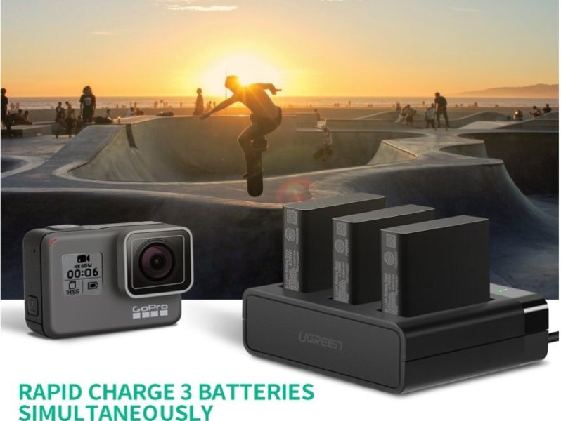 4.UGREEN 3-Channel Battery Quick Charger for GoPro Camera with Mini USB Cable for Charging Go Pro Hero 8 Hero 7 Hero 6 Hero 5 Black Battery, and AADBD-001AABAT-001 Backup Battery