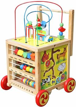 #5. Timy Wooden 5 in 1 Learning Bead Maze Activity Center Educational Cube toy