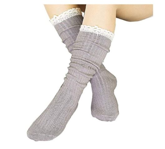 5.4 Pack Women Cotton Knit Boot Socks Knee High Socks Stockings with Lace Trim, Free size, Beige Black Coffee