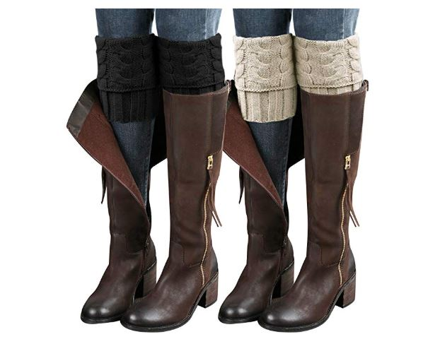 6.Loritta 2 Pairs Womens Boot Cuffs Winter Short Cable Knit Leg Warmers Boot Socks Gifts