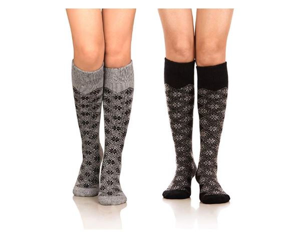7.DoSmart Women's Winter Warm Knee High Socks Boot Socks 2-Pairs Multi Color