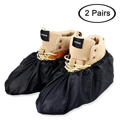 7.LINKEASE Reusable Boot & Shoe Covers Water Resistant Non Skid and Washable for Real Estate Contractors to Keep Floors Carpets Footwear and Rooms Clean-Black (2 Pairs)