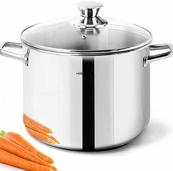 #8. HOMICHEF Stock Pot Nickel Free Stainless Steel - 4 Quart With handles and Lid