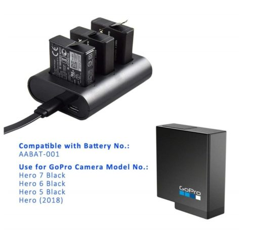 8.GoPro Rechargeable Battery Charger for GoPro Camera HERO7 HERO6 Black HERO5 Black Hero(2018) with Micro USB Cable, Fireproof Material AABAT-001 Battery