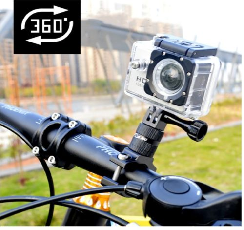 8.Lammcou Action Camera Bike Mount, Aluminium Bike Handlebar Mount for GoPro 360 Degree Rotary Bicycle Rack Mount Holder for GoPro