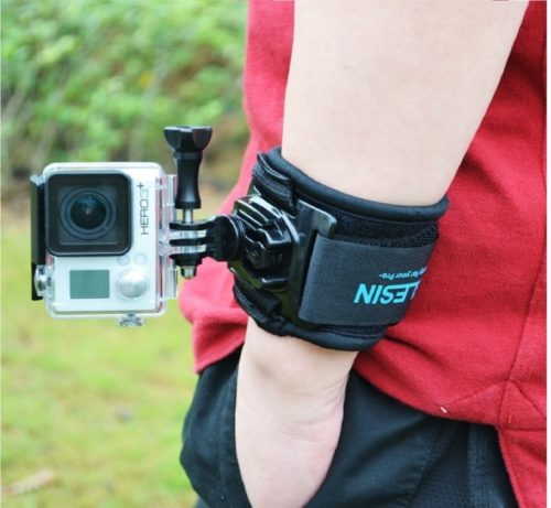 8.TELESIN 360 Degree Rotary Arm Hand Wrist Strap with J Hook Rotation Mount for Gopro,Osmo Action,Insta 360,Polaroid, Xiaomiyi, SJCAM