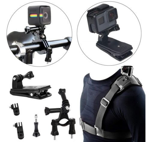 9.Camera Shoulder Strap with Backpack Clip Mount and Bike Camera Handlebar - 3 in 1 Rotate Clip Video