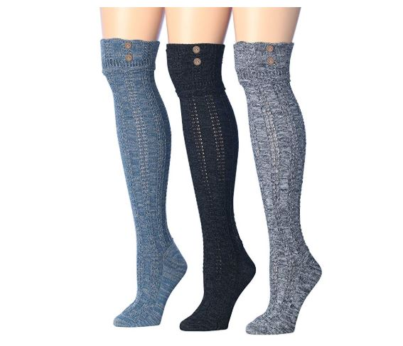 9.Tipi Toe Women's 3-Pairs Winter Warm Knee High Cotton-Blend Boot Socks