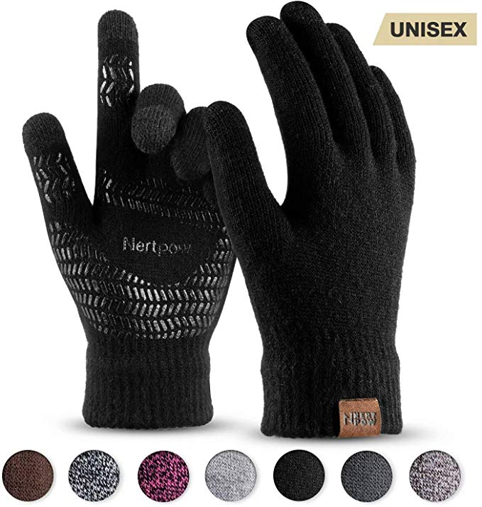 Nertpow winter knit gloves for touchscreen texting