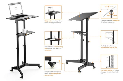 4. 1home Steel Mobile Stand Up Desk