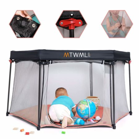 Portable Play Yard,Safety Foldable Indoor and Outdoor