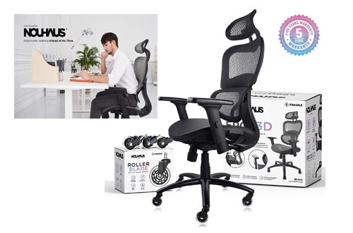 1. NOUHAUS Ergo3D - Rolling Desk Chair with 4D Adjustable Armrest