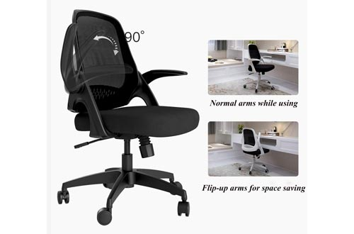 3. Hbada Office Task Chair - Swivel Home Comfort Chairs - Flip-up Arms and Adjustable Height