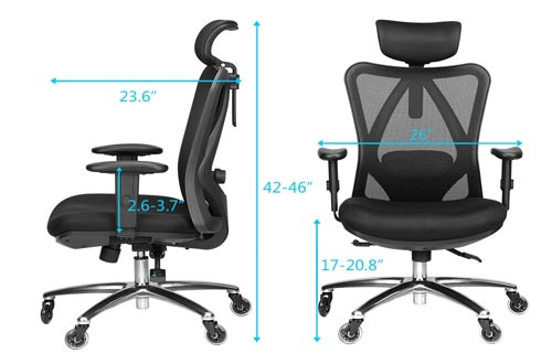 4. Duramont Adjustable Office Chair - Thick Seat Cushion - Adjustable Head & Arm Rests, Seat Height