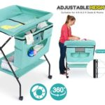 4. FORSTART Baby Changing Table - Adjustable Height Folding Diaper Station - Portable Mobile Nursery Organizer