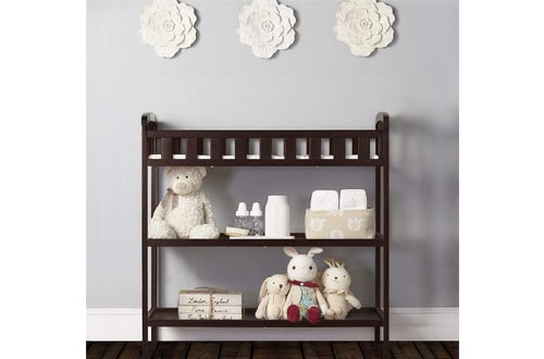 7. Dream On Me Emily Changing Table - Pad & Strap Included Open Shelving