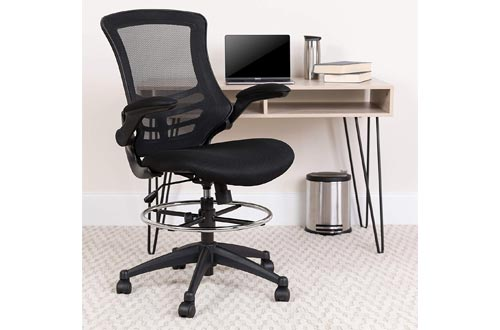 7. Flash Furniture Ergonomic Drafting Chair - Adjustable Foot Ring and Flip-Up Arms