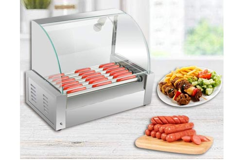 1. Zorvo Hot Dog Roller Machine - Electric 18 Hotdog 7 Roller Grill Cooker Machine - Stainless Steel Non Stick Sausage Warmer Hotdogs Grilling Cooker Appliances - with Cover and Easy to clean drawer – Commercial Household 110V 1050W