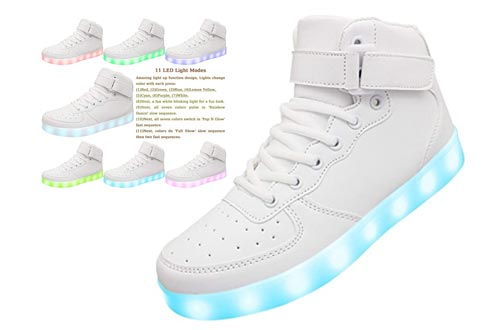 10. APTESOL Kids Youth LED Light Up Sneakers Unisex Boys Girls High Tops Cool Flashing Shoes for Toddler Littler Kid Big Kid