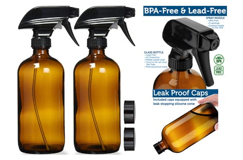 10. Empty Amber Glass Spray Bottles with Labels - 16oz Refillable Container for Essential Oils, Cleaning Products, or Aromatherapy