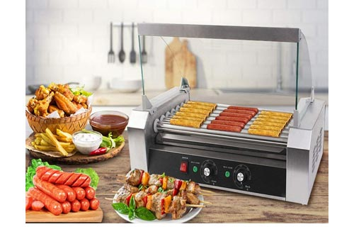 10. Safstar Commercial 18 Hot Dog 7 Roller Machine Stainless Steel Non Stick Electric Hotdogs Grilling Cooker Appliances with Cover