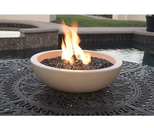 10.A Fire Pit for Your Patio Table. Landscape Quality Tabletop Fire Bowl Made of Concrete with 50,000 BTU Stainless Steel Burner. Runs on Propane.