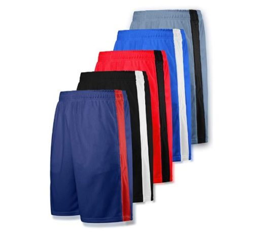 11Liberty Imports Pack of 5 Men's Athletic Basketball Shorts Mesh Quick Dry Activewear with Pocket
