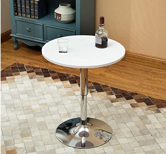 15.24 Inches Round Bar Table Adjustable Height Chrome Metal and Wood