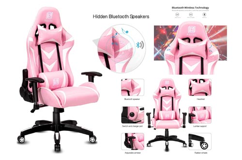 2. Modern-Depo High-Back Swivel Gaming Chair Recliner with Bluetooth 4.1 Speakers & Lumbar Support